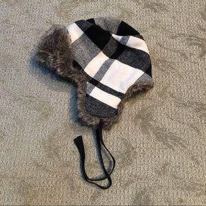 EUC American Eagle Faux Fur Trapper Hat in Plaid